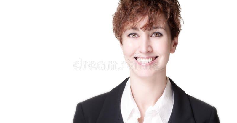 Χαμογελώντας επιχειρησιακή γυναίκα τριχώματος επιτυχίας κοντή στοκ εικόνες