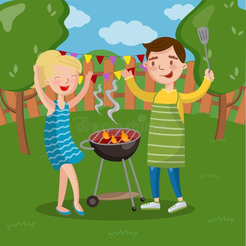 Χαμογελώντας ευτυχές ζεύγος που έχει το μαγειρεύοντας κρέας υπαίθριων σχαρών, νεαρών άνδρων και γυναικών και που έχει τη διανυσμα απεικόνιση αποθεμάτων