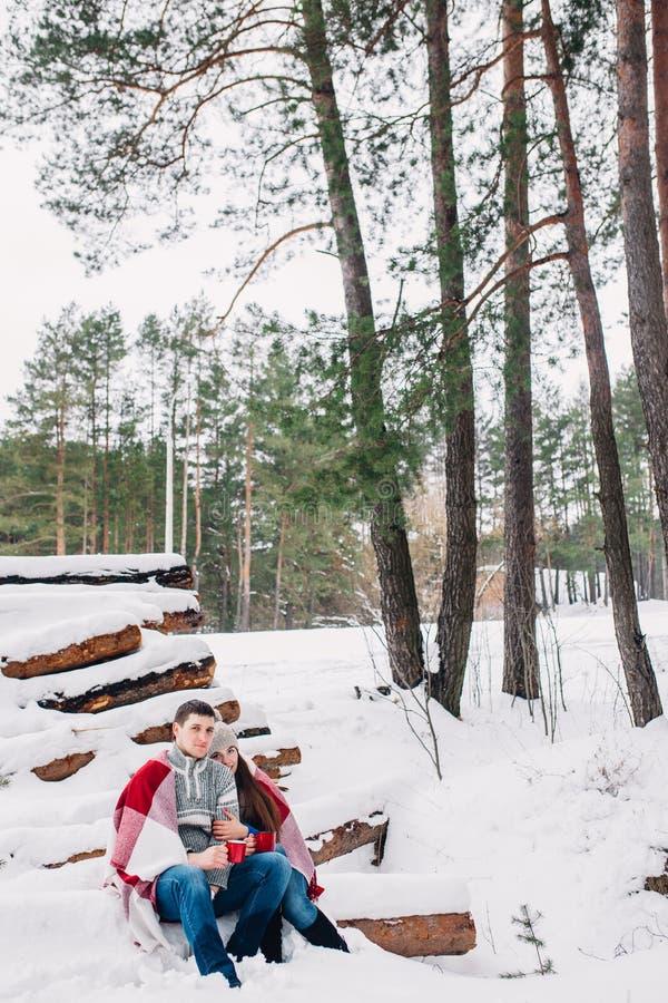 Χαμογελώντας ζεύγος που τυλίγεται σε ένα κάλυμμα και ένα τσάι κατανάλωσης υπαίθρια στο χειμερινό δάσος στοκ εικόνα με δικαίωμα ελεύθερης χρήσης