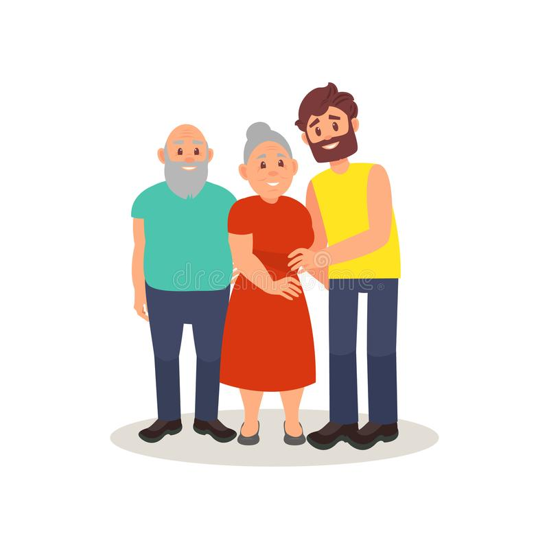 Χαμογελώντας ηλικιωμένο ζεύγος και η ενήλικη τοποθέτηση γιων τους μαζί, ευτυχής διανυσματική απεικόνιση οικογενειακής έννοιας σε  ελεύθερη απεικόνιση δικαιώματος
