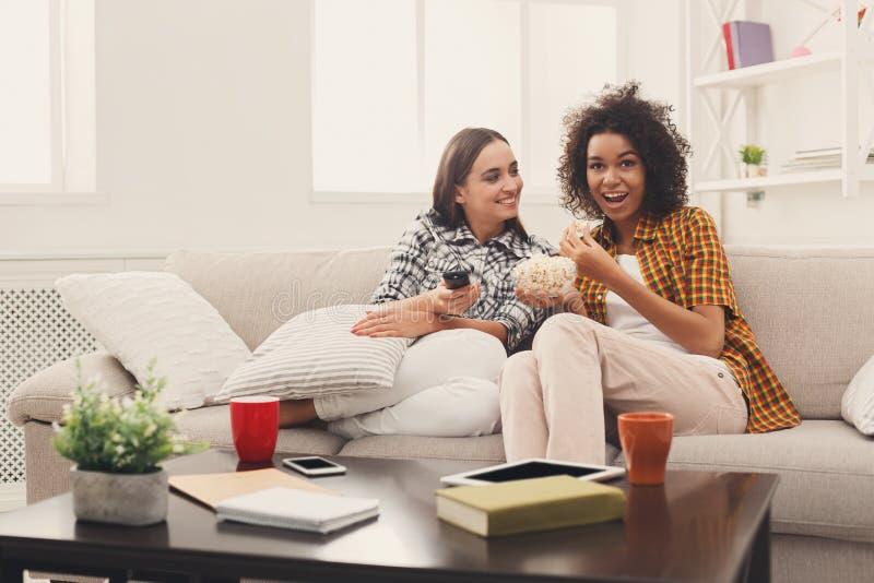Χαμογελώντας θηλυκοί φίλοι που προσέχουν τη TV στο σπίτι στοκ εικόνες