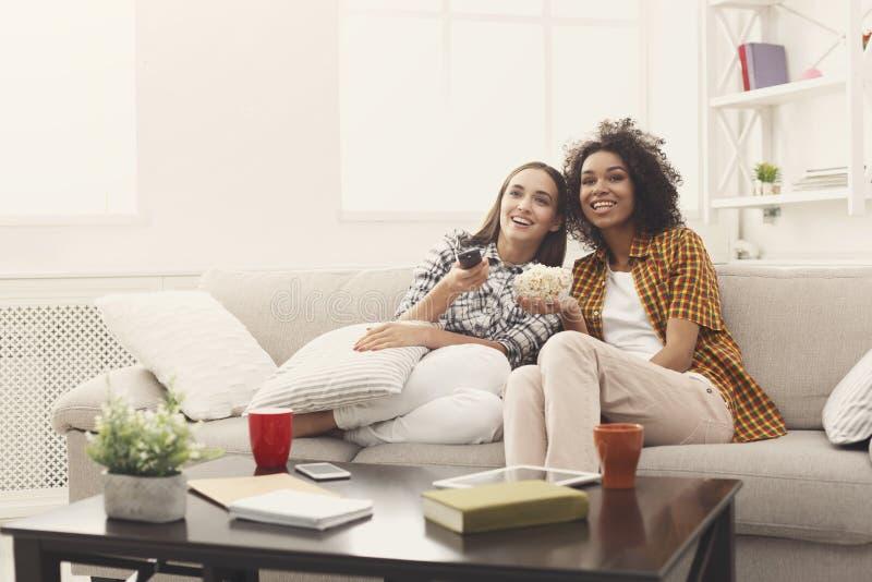 Χαμογελώντας θηλυκοί φίλοι που προσέχουν τη TV στο σπίτι στοκ φωτογραφία με δικαίωμα ελεύθερης χρήσης