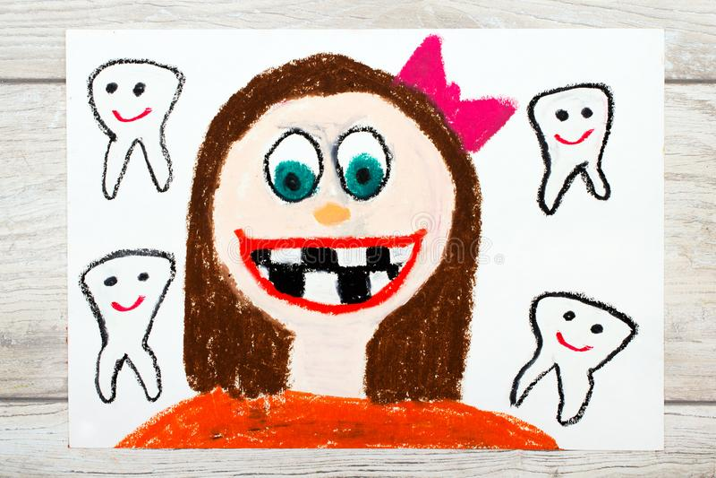 Χαμογελώντας κορίτσι χωρίς δόντια γάλακτος Χάνοντας δόντια μωρών διανυσματική απεικόνιση