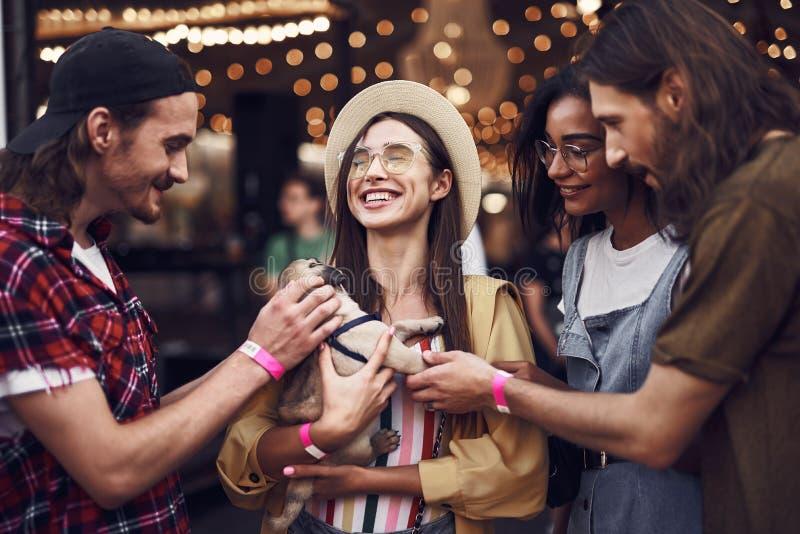 Χαμογελώντας κυρία που κρατούν λίγο κουτάβι και τους φίλους της εξετάζοντας το στοκ φωτογραφίες