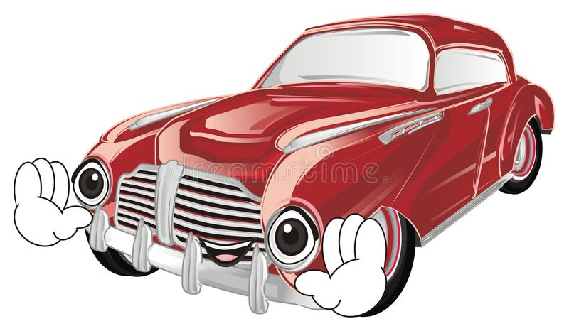 Χαμογελώντας κόκκινο παλαιό αυτοκίνητο ελεύθερη απεικόνιση δικαιώματος