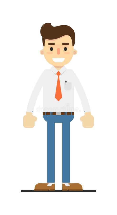 Χαμογελώντας λιανικός χαρακτήρας συμβούλων στο επίπεδο σχέδιο διανυσματική απεικόνιση