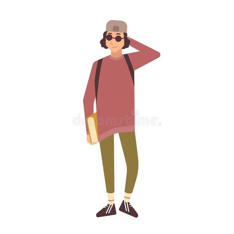Χαμογελώντας μοντέρνος έφηβος που φορά την ΚΑΠ και τα γυαλιά ηλίου και το κράτημα των εγχειριδίων Χαριτωμένος έξυπνος πανεπιστήμι ελεύθερη απεικόνιση δικαιώματος