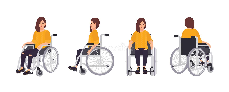Χαμογελώντας νέα γυναίκα στην αναπηρική καρέκλα που απομονώνεται στο άσπρο υπόβαθρο Θηλυκός χαρακτήρας που υποβάλλεται στην αποκα ελεύθερη απεικόνιση δικαιώματος