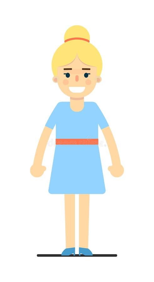 Χαμογελώντας νέο ξανθό κορίτσι στο μπλε φόρεμα διανυσματική απεικόνιση