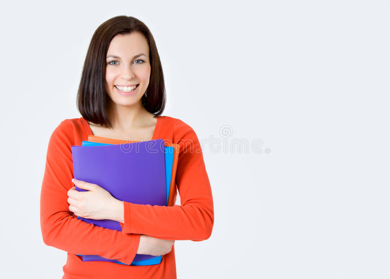 χαμογελώντας νεολαίες γυναικών σπουδαστών στοκ εικόνες