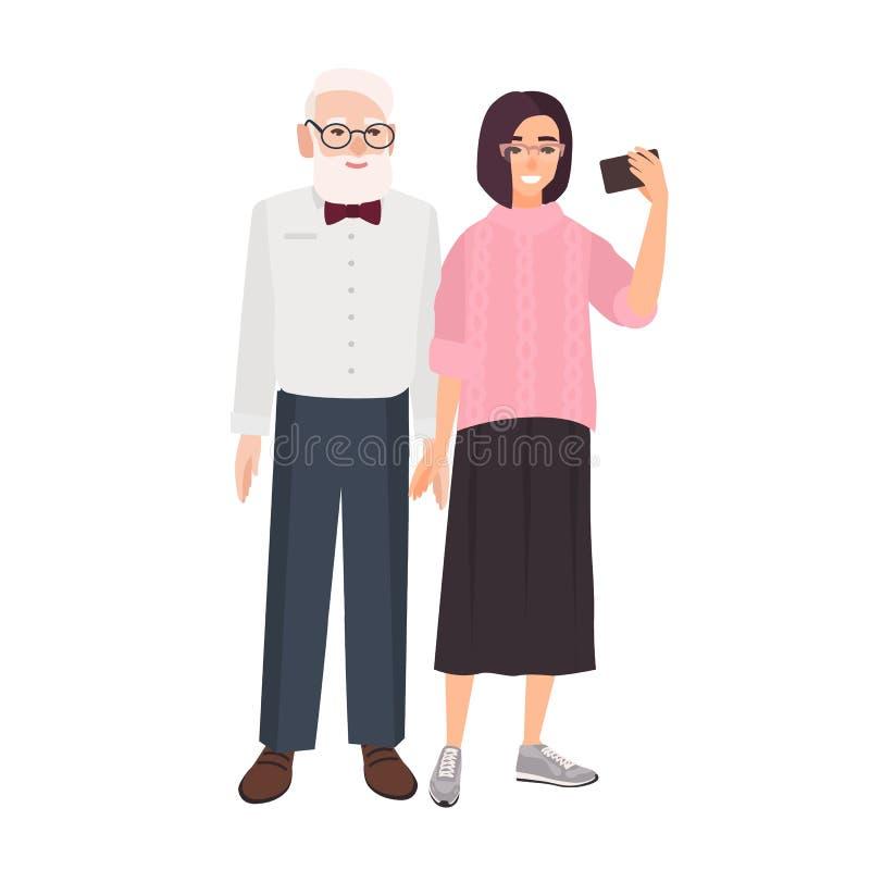 Χαμογελώντας παππούς και εγγονή που στέκονται μαζί και που παίρνουν selfie Χαριτωμένη αστεία ηλικιωμένη παραγωγή ατόμων και νέων  απεικόνιση αποθεμάτων