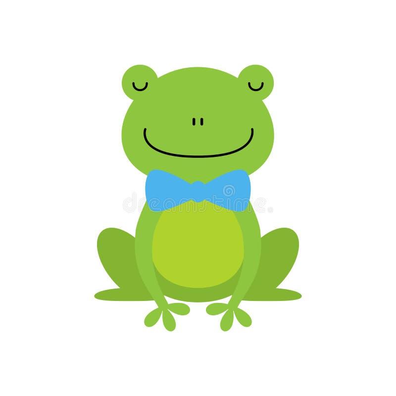 Χαμογελώντας πράσινος αστείος χαρακτήρας βατράχων με την παιδαριώδη απεικόνιση κινούμενων σχεδίων δεσμών τόξων διανυσματική απεικόνιση
