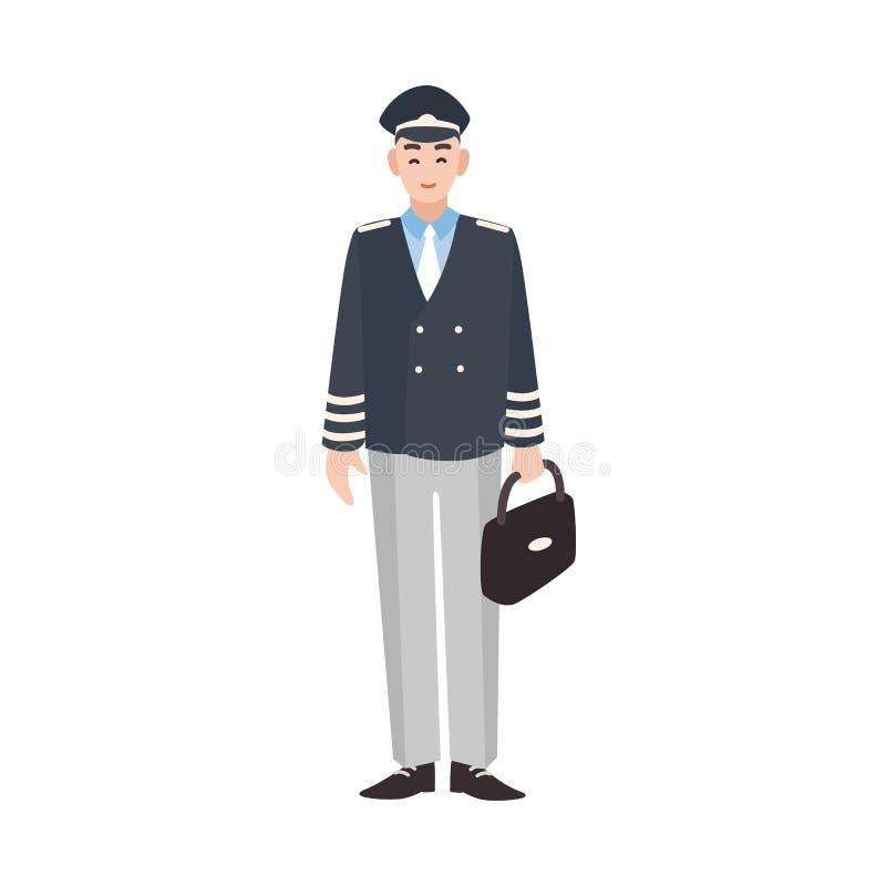 Χαμογελώντας τα πολιτικά αεροσκάφη πειραματικά, ο καπετάνιος πληρωμάτων του αεροσκάφους, ο αεροπόρος ή ο αεροπόρος έντυσαν σε ομο απεικόνιση αποθεμάτων