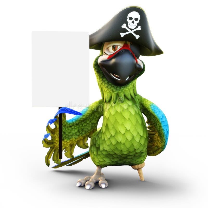 Χαμογελώντας τον παπαγάλο πειρατών με το πόδι γόμφων, το καπέλο και το μπάλωμα που κρατούν ένα λευκό επιβιβάζονται στο κενό σημάδ απεικόνιση αποθεμάτων