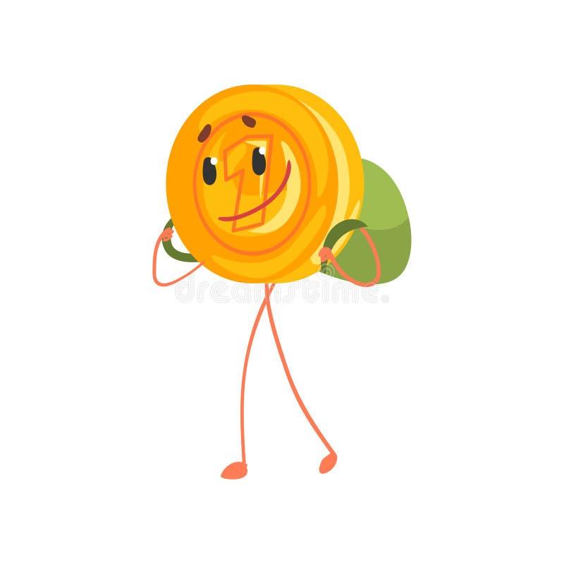 Χαμογελώντας χαρακτήρας ενός σεντ που περπατά με το σακίδιο πλάτης στην πλάτη Χρυσό εικονίδιο πενών κινούμενων σχεδίων Χρήματα απ διανυσματική απεικόνιση