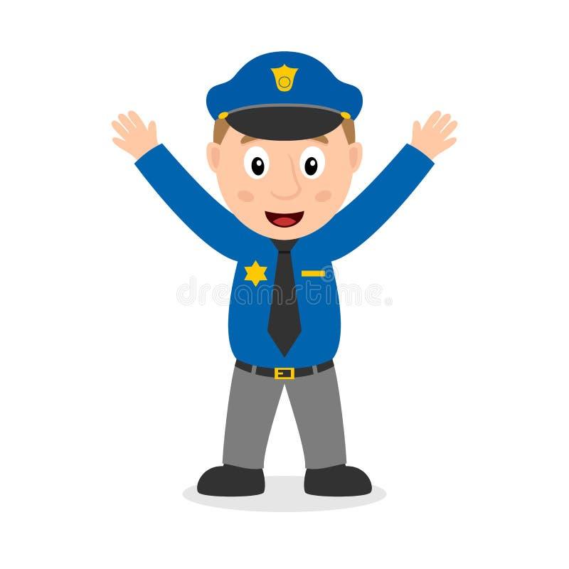 Χαμογελώντας χαρακτήρας κινουμένων σχεδίων αστυνομικών απεικόνιση αποθεμάτων