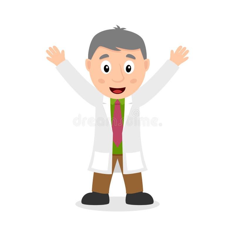 Χαμογελώντας χαρακτήρας κινουμένων σχεδίων επιστημόνων απεικόνιση αποθεμάτων