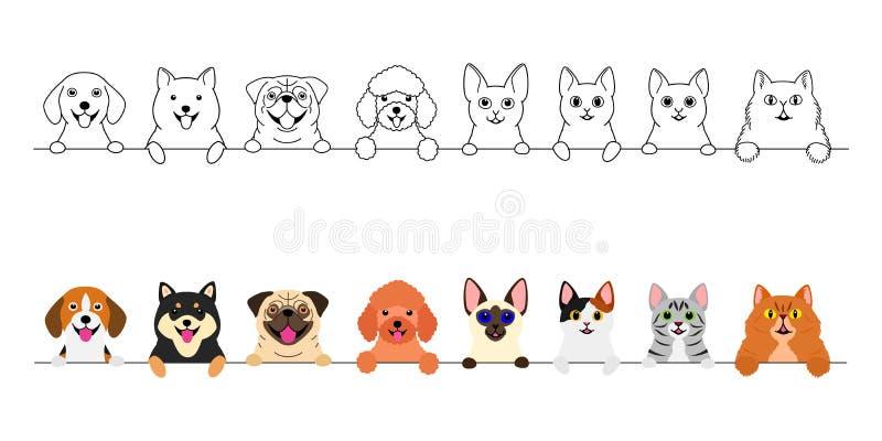 Χαμογελώντας χαριτωμένο σύνολο συνόρων σκυλιών και γατών διανυσματική απεικόνιση