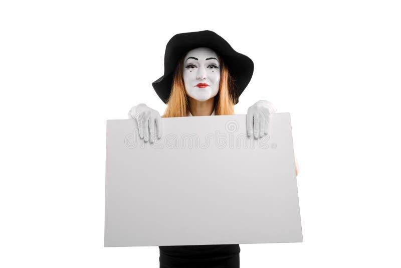 Χαμογελώντας mime κενή αφίσσα εκμετάλλευσης στοκ εικόνα