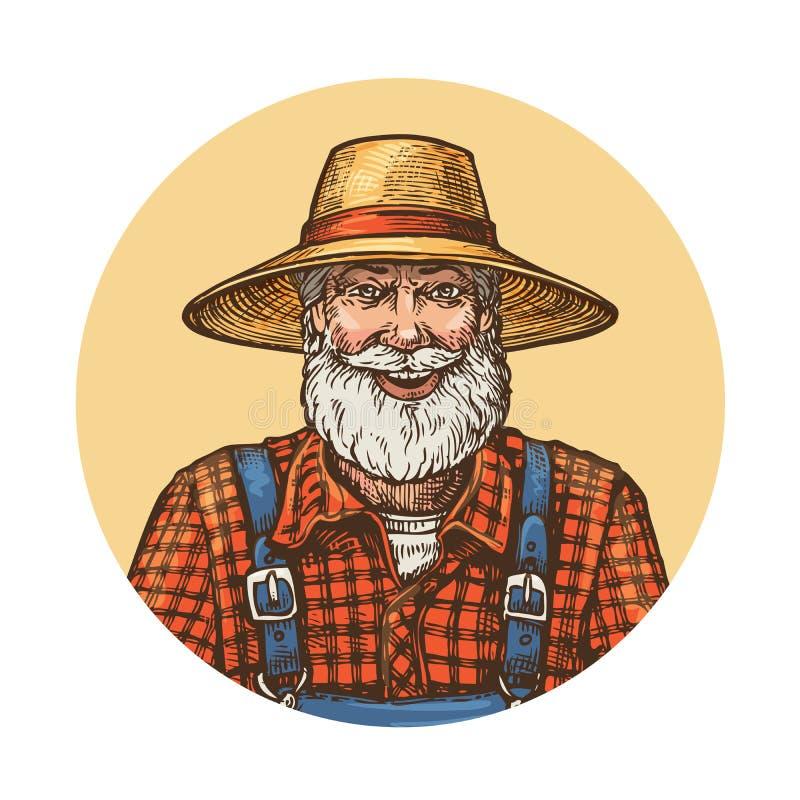 Χαμογελώντας αγρότης στο καπέλο αχύρου Διανυσματική απεικόνιση κηπουρών ή μελισσοκόμων διανυσματική απεικόνιση