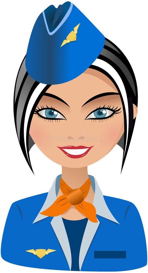 Χαμογελώντας αεροσυνοδός μόδας ελεύθερη απεικόνιση δικαιώματος