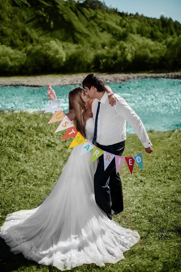 Χαμογελώντας γαμήλιο ζεύγος στοκ εικόνες