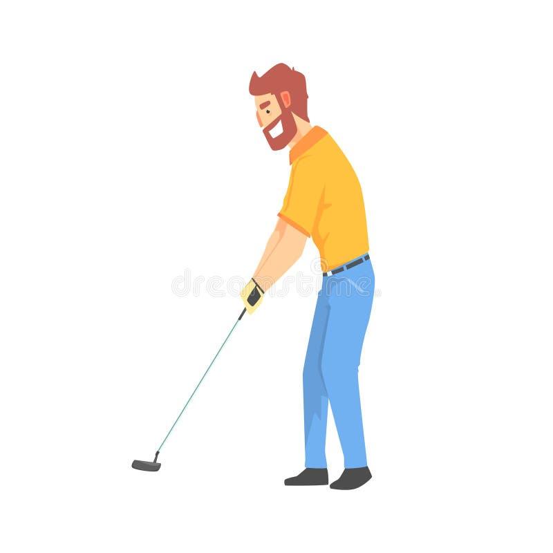 Χαμογελώντας γενειοφόρος χαρακτήρας γκολφ κινούμενων σχεδίων palyer που χτυπά τη διανυσματική απεικόνιση σφαιρών ελεύθερη απεικόνιση δικαιώματος