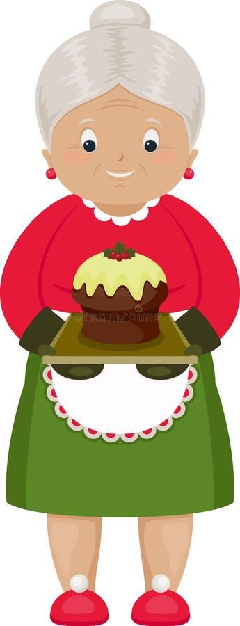Χαμογελώντας γιαγιά με το ψημένο κέικ Χριστουγέννων διανυσματική απεικόνιση