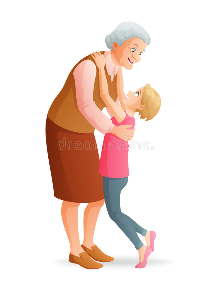 Χαμογελώντας γιαγιά που αγκαλιάζει την εγγονή της διανυσματικό λευκό καρ&chi διανυσματική απεικόνιση