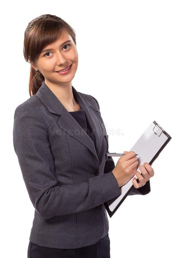Χαμογελώντας γυναίκα με την περιοχή αποκομμάτων που απομονώνεται στοκ φωτογραφία με δικαίωμα ελεύθερης χρήσης