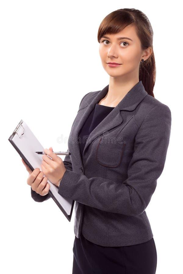 Χαμογελώντας γυναίκα με την περιοχή αποκομμάτων που απομονώνεται στοκ εικόνα με δικαίωμα ελεύθερης χρήσης