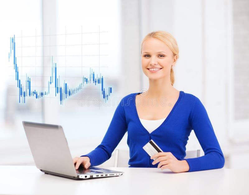 Χαμογελώντας γυναίκα με το φορητό προσωπικό υπολογιστή και την πιστωτική κάρτα στοκ φωτογραφία με δικαίωμα ελεύθερης χρήσης