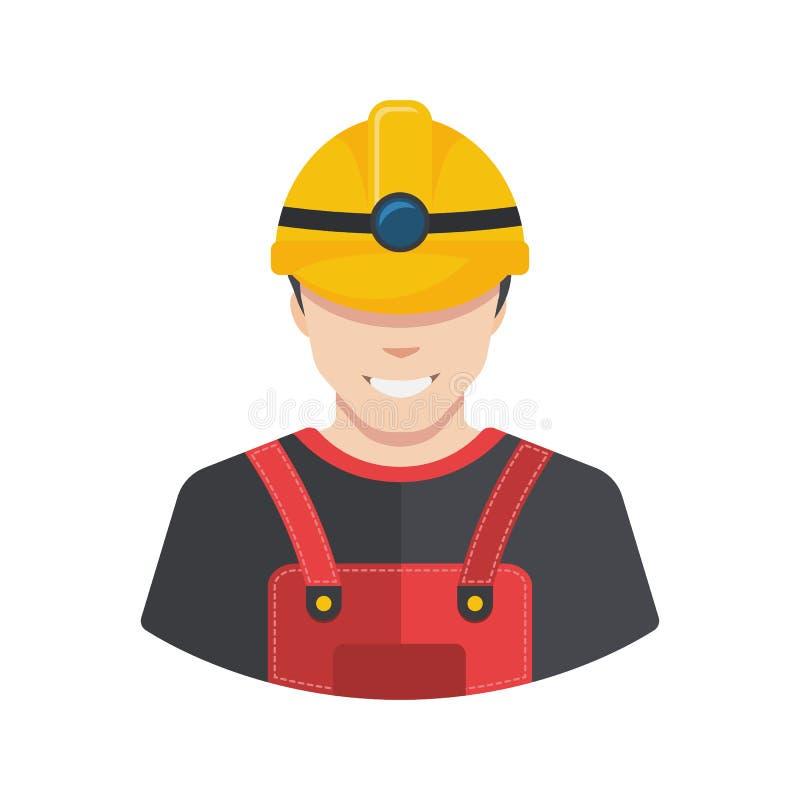 Χαμογελώντας είδωλο εικονιδίων οικοδόμων εργατών οικοδομών οριζόντια ελεύθερη απεικόνιση δικαιώματος
