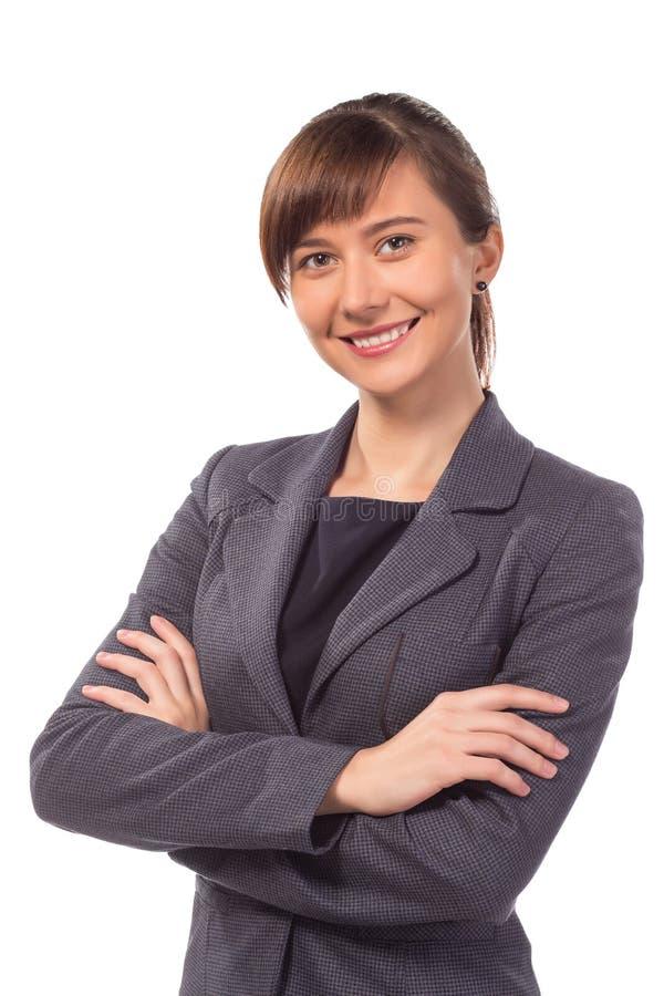 Χαμογελώντας επιχειρηματίας ή δάσκαλος με το βραχίονα που διπλώνεται που απομονώνεται στοκ εικόνες με δικαίωμα ελεύθερης χρήσης