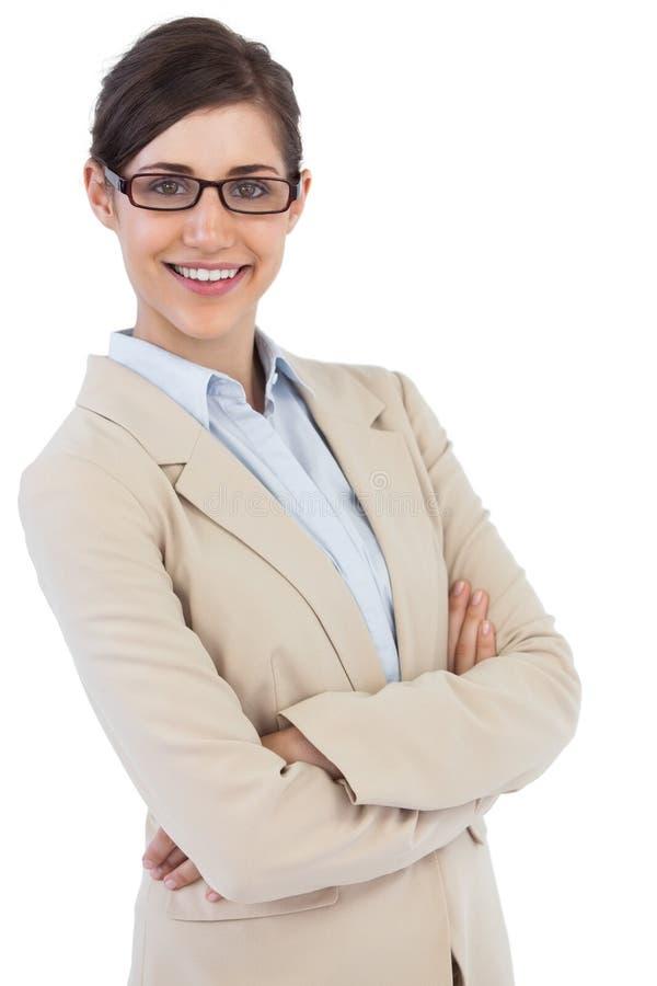 Χαμογελώντας επιχειρηματίας που φορά τα γυαλιά στοκ φωτογραφίες με δικαίωμα ελεύθερης χρήσης