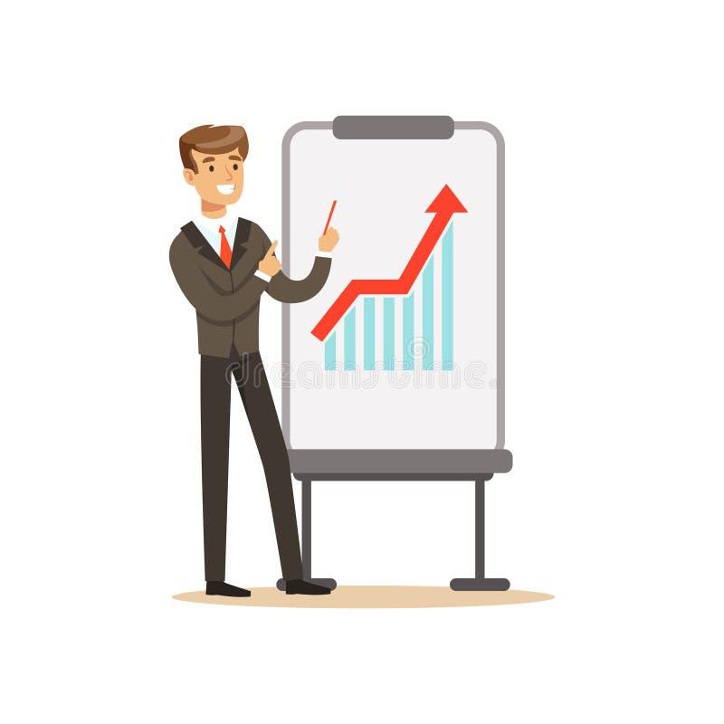 Χαμογελώντας επιχειρηματίας σε ένα κοστούμι που δείχνει σε ένα whiteboard με τη γραφική παράσταση αύξησης σε μια παρουσίαση, διαν ελεύθερη απεικόνιση δικαιώματος