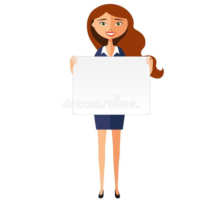 Χαμογελώντας επιχειρησιακή γυναίκα με το έμβλημα Φιλική νέα γυναίκα που στέκεται με διανυσματική απεικόνιση κινούμενων σχεδίων πι απεικόνιση αποθεμάτων