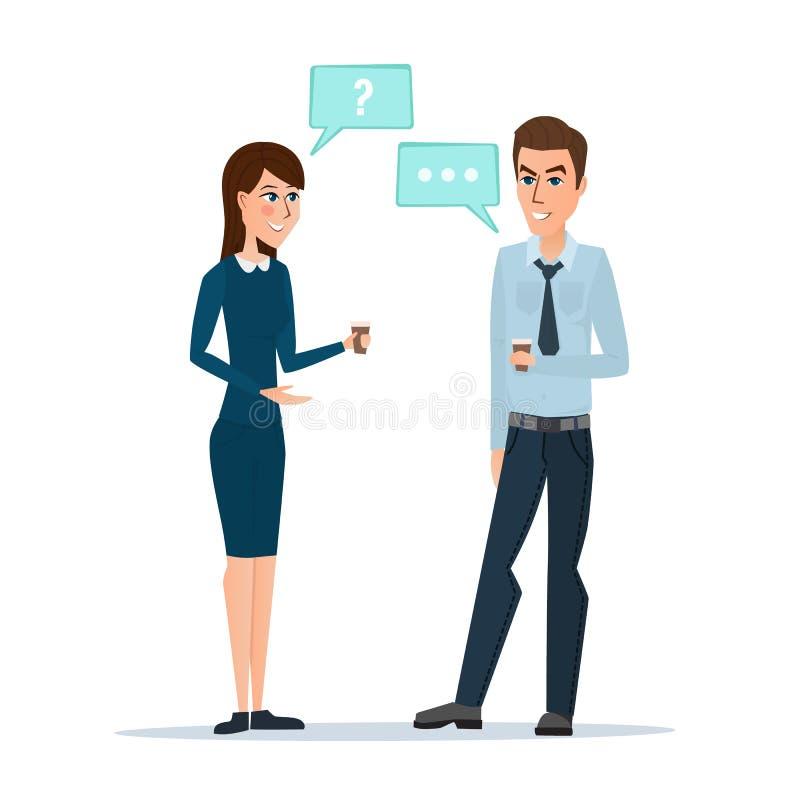 Χαμογελώντας επιχειρησιακοί συνάδελφοι που πίνουν τον καφέ και που μιλούν τον καφέ διανυσματική απεικόνιση