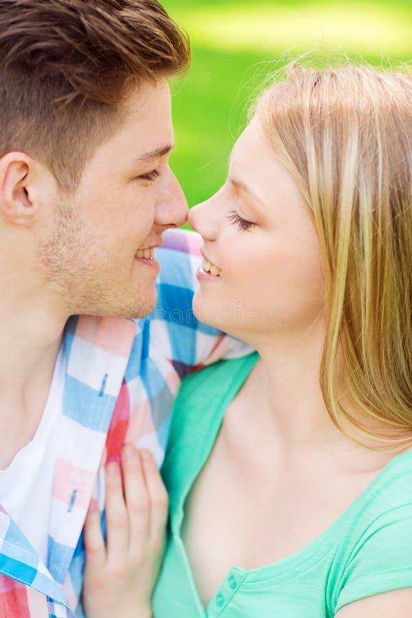 Χαμογελώντας ζεύγος σχετικά με τις μύτες στο πάρκο στοκ φωτογραφία με δικαίωμα ελεύθερης χρήσης
