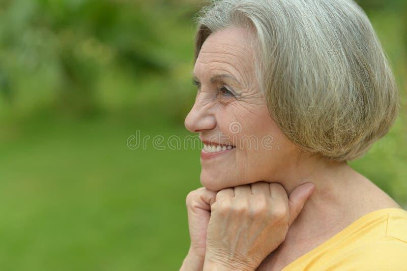 Χαμογελώντας ηλικιωμένη γυναίκα στοκ εικόνες με δικαίωμα ελεύθερης χρήσης