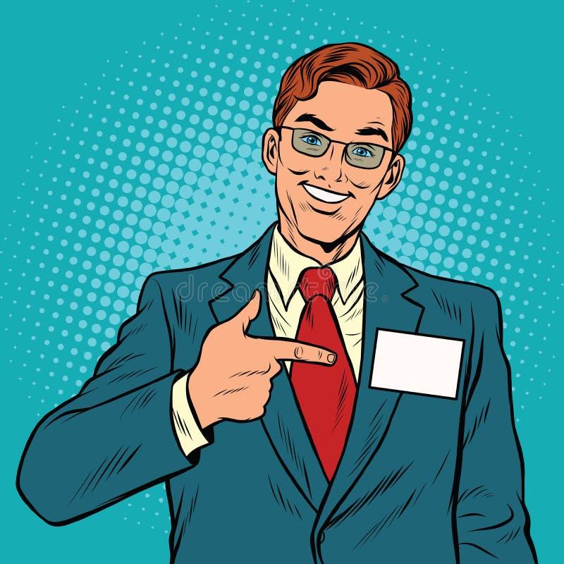Χαμογελώντας διευθυντής με ένα διακριτικό ονόματος απεικόνιση αποθεμάτων