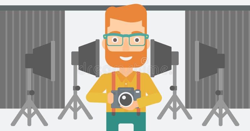 Χαμογελώντας κάμερα εκμετάλλευσης φωτογράφων ελεύθερη απεικόνιση δικαιώματος