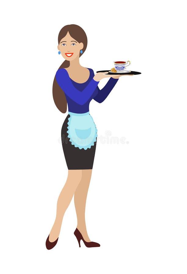 χαμογελώντας κορίτσι-σερβιτόρα με το δίσκο απεικόνιση αποθεμάτων