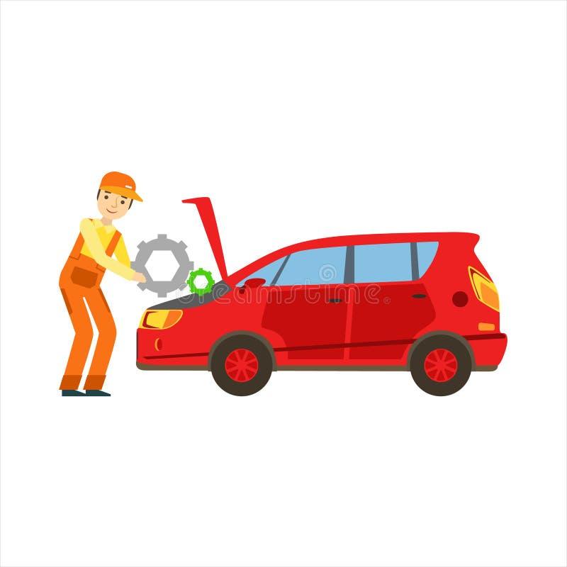 Χαμογελώντας μηχανικός που επισκευάζει τη μηχανή στο γκαράζ, απεικόνιση υπηρεσιών εργαστηρίων επισκευής αυτοκινήτων ελεύθερη απεικόνιση δικαιώματος