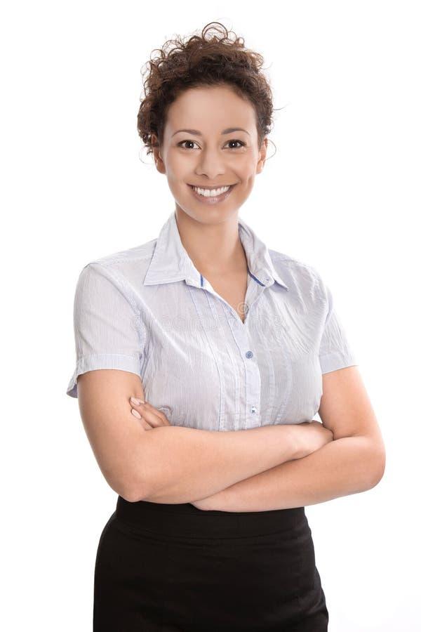 Χαμογελώντας νέα επιχειρηματίας που απομονώνεται - μπλούζα και φούστα στοκ εικόνες με δικαίωμα ελεύθερης χρήσης