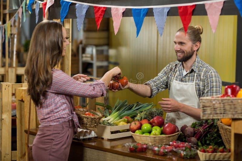 Χαμογελώντας προμηθευτής που δίνει τις ντομάτες στη γυναίκα στο μετρητή στοκ φωτογραφία