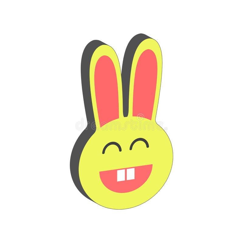 Χαμογελώντας σύμβολο λαγουδάκι Επίπεδο Isometric εικονίδιο ή λογότυπο τρισδιάστατο ύφος Pict απεικόνιση αποθεμάτων