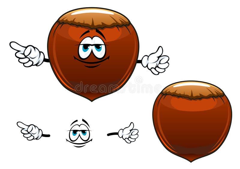Χαμογελώντας χαρακτήρας κινουμένων σχεδίων φρούτων φουντουκιών ελεύθερη απεικόνιση δικαιώματος