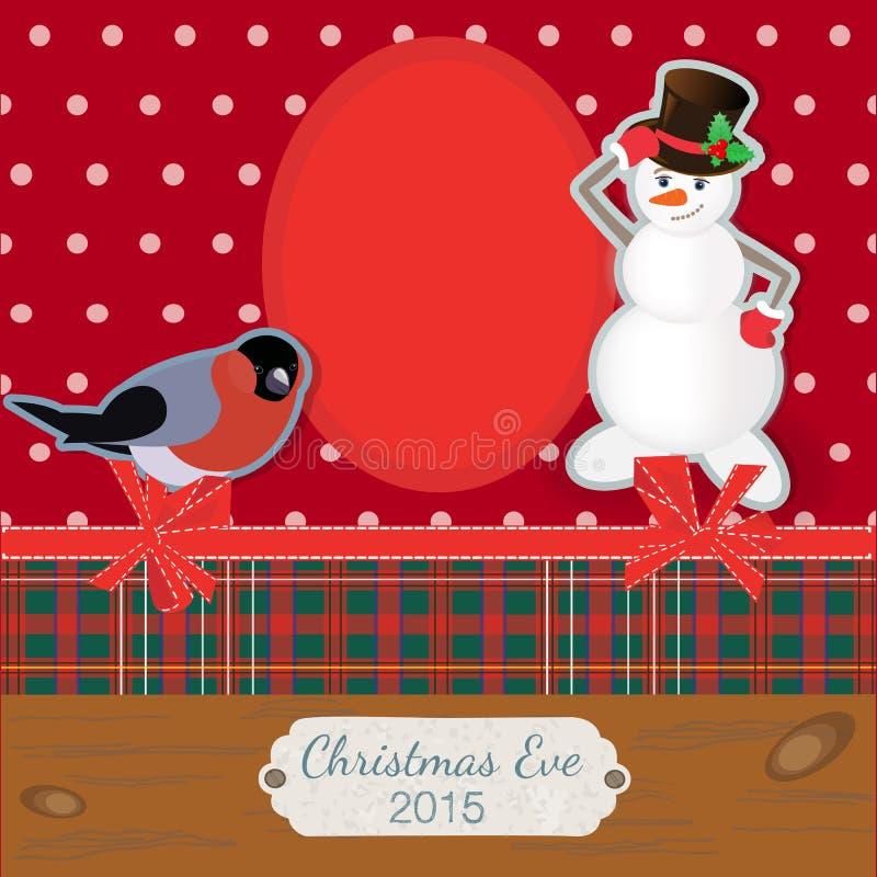 Χαμογελώντας χιονάνθρωπος Scrapbooking photoframe και bullfinch διανυσματική απεικόνιση