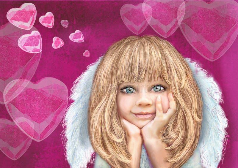 Χαμογελώντας cupid κορίτσι Άγγελος Αγάπη background colors holiday red yellow απεικόνιση αποθεμάτων